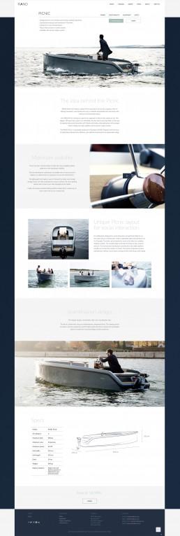 Modelside for RAND Picnic - Webdesign til RAND Boats